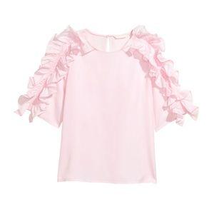 H&M pink striped ruffled blouse top shirt